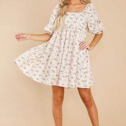 Something's Getting Started Beige Floral Print Dress   Red Dress