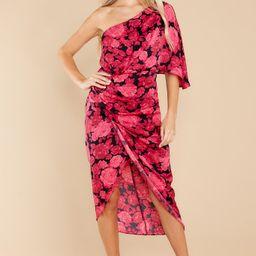 Sashay Away Fuchsia Pink Floral Print Dress   Red Dress