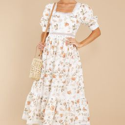 Making A Memory White Floral Print Maxi Dress   Red Dress