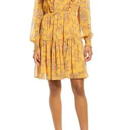 Metallic Stripe Floral Long Sleeve Dress   Nordstrom