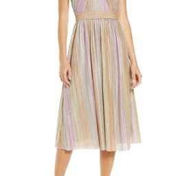 Rainbow Shimmer Pleated Cocktail Dress   Nordstrom