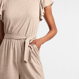 Soft Belted Ruffle Sleeve Romper | Express
