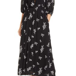 Embroidered Balloon Sleeve Dress   Nordstrom
