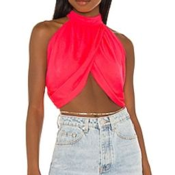 superdown Emani Wrap Crop Top in Coral from Revolve.com | Revolve Clothing (Global)