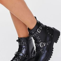 Studded Buckled-Strap Combat Boots | Forever 21 (US)