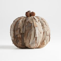 Small Wood Chip Pumpkin | Crate and Barrel | Crate & Barrel