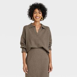 Women's Collared Split Neck Pullover Sweater - A New Day™ | Target