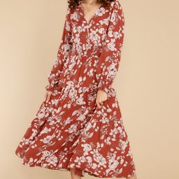 Magic In The Air Rust Floral Print Dress   Red Dress