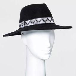 Women's Guitar Strap Band Wide Brim Fedora Hat - Universal Thread™ Black | Target