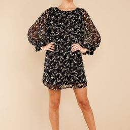 Unexpected Chance Black Floral Print Dress   Red Dress