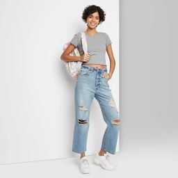 Women's Super-High Rise Distressed Straight Jeans - Wild Fable™ Medium Blue | Target
