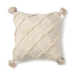 "Better Homes & Gardens Tufted Trellis Decorative Square Throw Pillow, 20"" x 20"", Natural, Single ... | Walmart (US)"