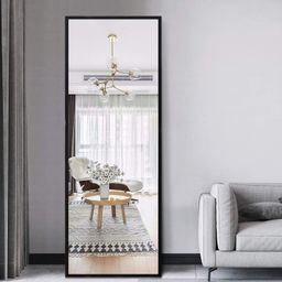 Neutype 51x16 Inch Rectangle Full Length Hanging Mirror, Metal Matte Frame Wall-Mounted Door Mirr... | Walmart (US)