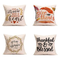 Happy Thanksgiving Day Pillow Covers 4 Pack Fall Decor Cotton Linen Give Thanks Sofa Throw Pillow... | Walmart (US)