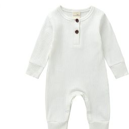 Mandizy Newborn Baby Girl Boy Clothes Casual Jumpsuit Unisex Infant Solid Color Long Sleeve Onesi... | Amazon (US)