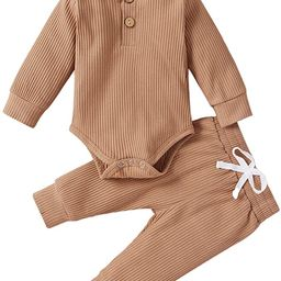 Winter Newborn Baby Boy Girl Clothes Set Ribbed Outfits Unisex Infant Solid Cotton Button Long Sl... | Amazon (US)