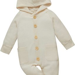 DBZoo Infant Baby Boy Girl Hooded Rompers Long Sleeve Waffle Knitted Jumpsuits Fall One Piece Sol... | Amazon (US)