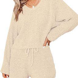 luvamia Womens Casual Pajamas Knit Sweatsuits Long Sleeve Tops and Shorts Loungewear Sets | Amazon (US)