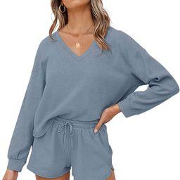 MEROKEETY Women's Long Sleeve Waffle Lounge Sets V Neck Top and Shorts 2 Piece Pajama Set Outfits | Amazon (US)