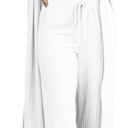Womens Pajamas Set Fall 3 Piece Loungewear Set Crop Vest Top Loose Pants and Cardigan Knitwear Ju... | Amazon (US)