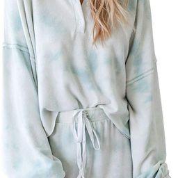Women's Tie-Dye Pajama-Sets Long-Sleeve Tee Tops and Ruffle Short PJ Set Loungewear Nightwear Sle... | Amazon (US)
