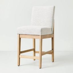 Upholstered Natural Wood Slipper Counter Stool Microstripe Gray/Oatmeal - Hearth & Hand&#8482... | Target
