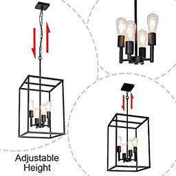 VINLUZ 4 Light Large Industrial Metal Farmhouse Pendant Light Black Square Wide Cage Chandelier w... | Amazon (US)