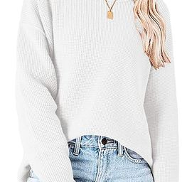 Ybenlow Womens Casual Crew Neck Pullover Sweaters Waffle Knit Side Split Loose Long Sleeve Jumper...   Amazon (US)