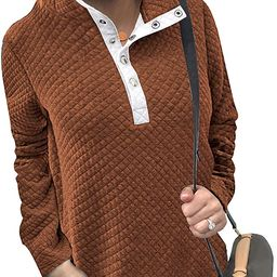 BTFBM Women Fashion Quilted Pattern Lightweight Zipper Long Sleeve Plain Casual Ladies Sweatshirt...   Amazon (US)