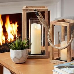 Natural Mango Wood Lantern Candle Holder - Hanging or Tabletop with Rope Handle (Set of 2)   The Home Depot