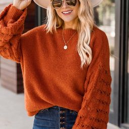 She's The Center Of Attention Rust Sweater   The Pink Lily Boutique