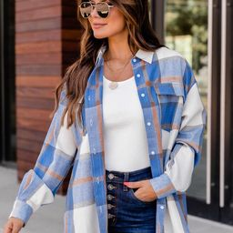Dreaming Again Blue Plaid Blouse   The Pink Lily Boutique