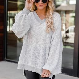 So Wonderful To Me Grey Pullover   The Pink Lily Boutique