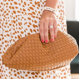 Feel My Heartbeat Brown Woven Clutch   The Pink Lily Boutique