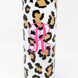 On Island Time 20oz Brown Animal Print Single Initial Skinny Tumbler   The Pink Lily Boutique