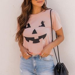 Jack O Lantern Lady Graphic Peach Tee   The Pink Lily Boutique