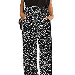 CHIMIKEEY Womens Leopard Print Wide Leg Pants High Waisted Belted Palazzo Trousers | Amazon (US)