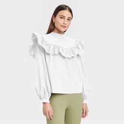 Women's Long Sleeve Ruffle Yoke Top - A New Day™ | Target