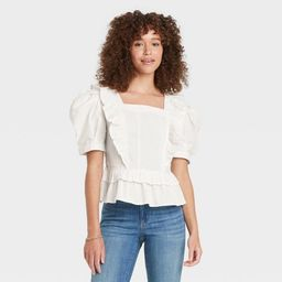 Women's Puff Short Sleeve Ruffle Peplum Blouse - Universal Thread™ | Target
