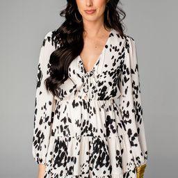 Melody Tie Front Mini Dress - Snow Leopard | BuddyLove