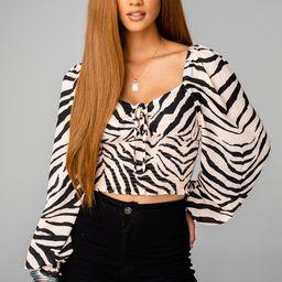 Isabelle Smocked Crop Top -  Zebra Striped | BuddyLove