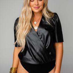Ava Surplice Vegan Leather Bodysuit - Black | BuddyLove