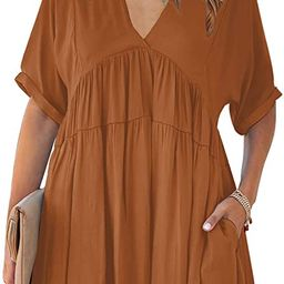 KIRUNDO Women's Summer V Neck Tunic Dress Casual Loose Flowy Mini Dress Tie Back Shift Dresses | Amazon (US)