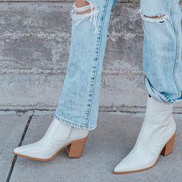Eleora Bone Crocodile-Embossed Mid-Calf High Heel Boots | Lulus (US)