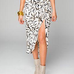 Marie Zip Front Midi Skirt - Tiger Stripes | BuddyLove