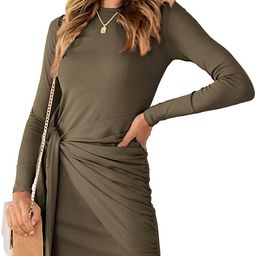 AUTOMET Women Casual Fall Long Sleeve Dress 2021 Ruched Bodycon Tie Waist Winter Mini Dresses | Amazon (US)