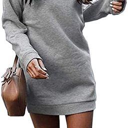 Miselon Women's Casual Fleece Long Pullover Sweatshirt Dress Long Sleeve Mini Sweater Dresses wit... | Amazon (US)
