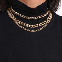 Denifery Punk Cuban Thick Link Chain Choker Necklace Layered Gold Chunky Chain Necklace Boho Jewe... | Amazon (US)