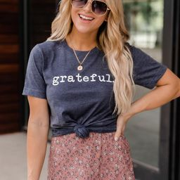 Grateful Graphic Tee Navy | The Pink Lily Boutique