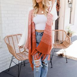 Finally Together Orange Ombre Fringe Poncho | The Pink Lily Boutique
